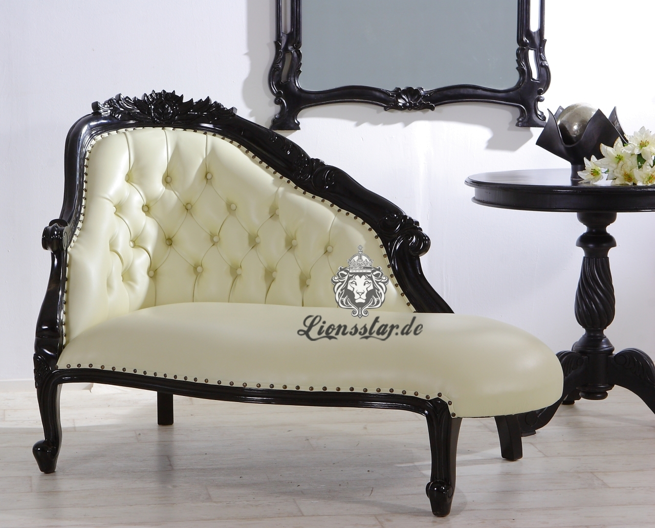 Barock Sofa Recamiere Schwarz-Weiß