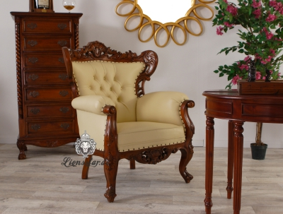 Chefsessel Thronstuhl Kingchair Mahagoni Creme