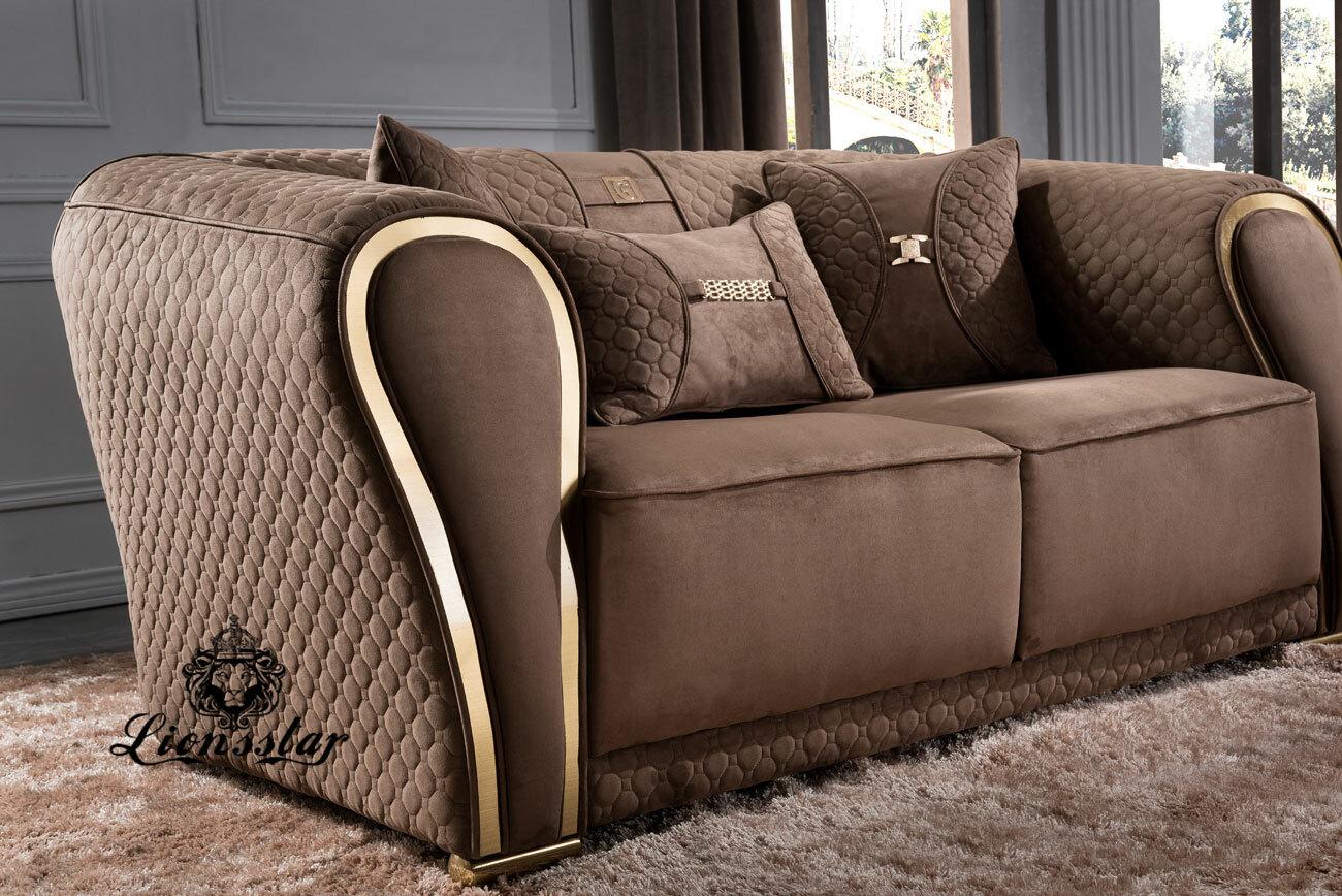 Edel Luxus Sofa Set Polo Sports braun