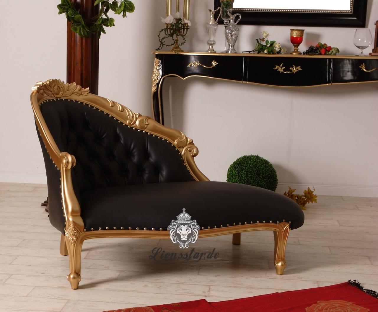 Barock Sofa Recamiere Gold-Schwarz
