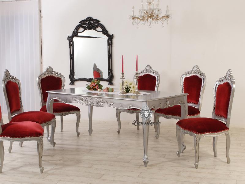 Luxus Esstisch Barock Venezia Silber