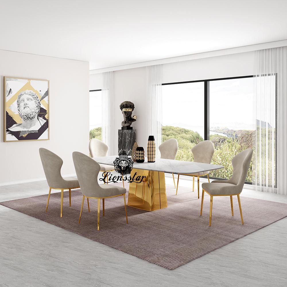 Luxus Designer Esstisch Set Gold Tower