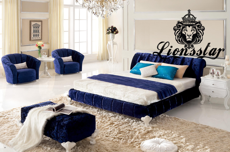 Luxus Barockbett Samtstoff Blau