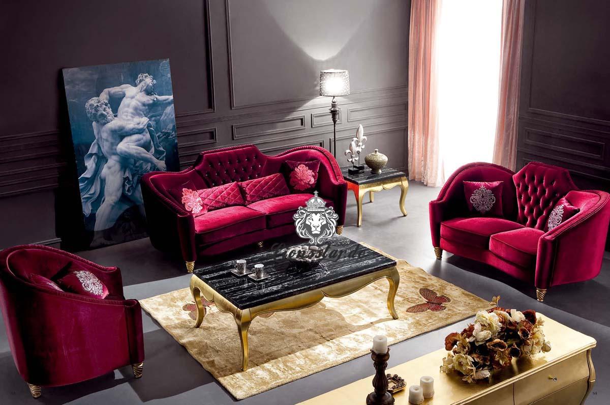 Luxussofaset rot samt lionsstar gmbh for Sessel rot samt