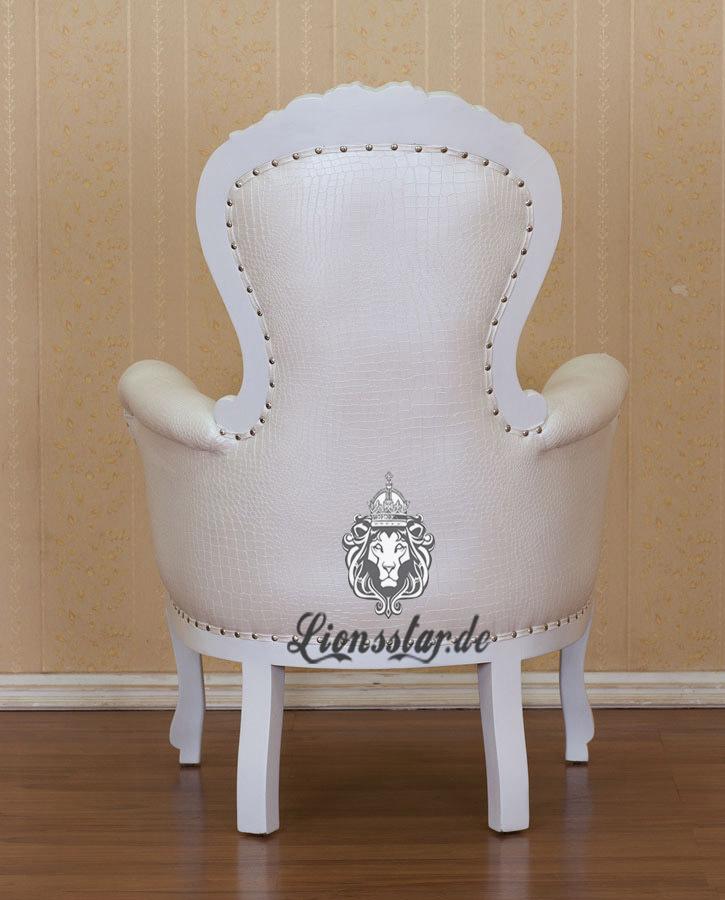 Grandfather Chair Weiß Antik