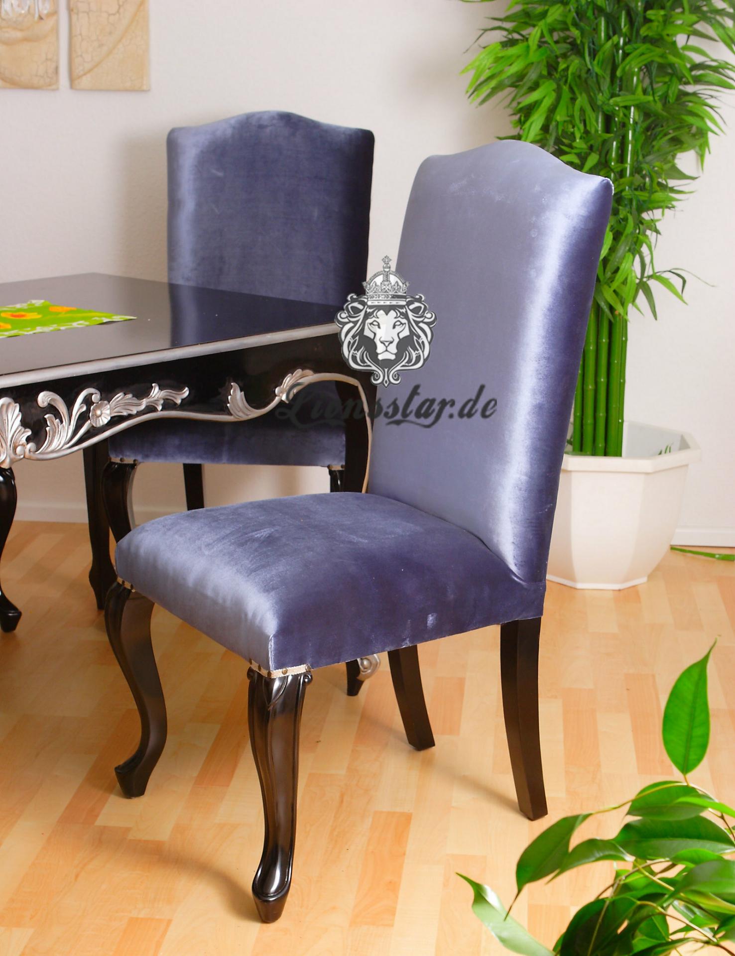 Stuhl Massiv Mahagoni Schwarz Hellblau
