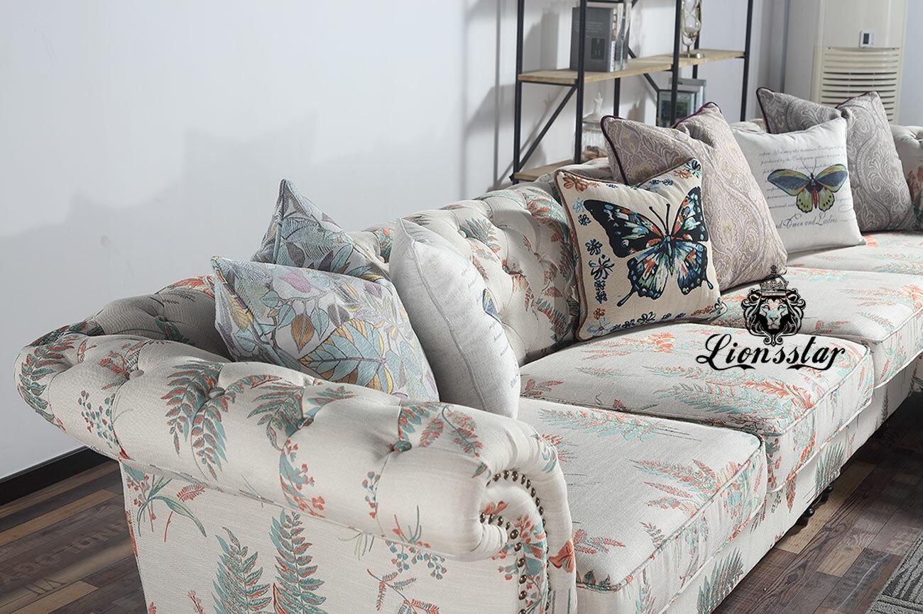 Luxus Sofaset mit Chaiselongue Blätter