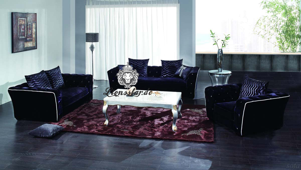 Wohnzimmer Sofaset Dunkelblau