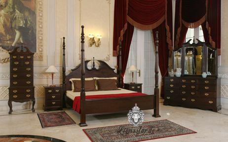 Luxus Bett Kolonialstil Mahagoni Fourposter