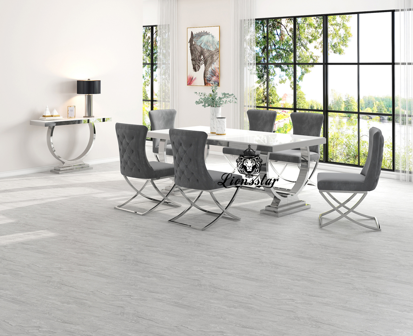Luxus Esstisch Loft Design Silver