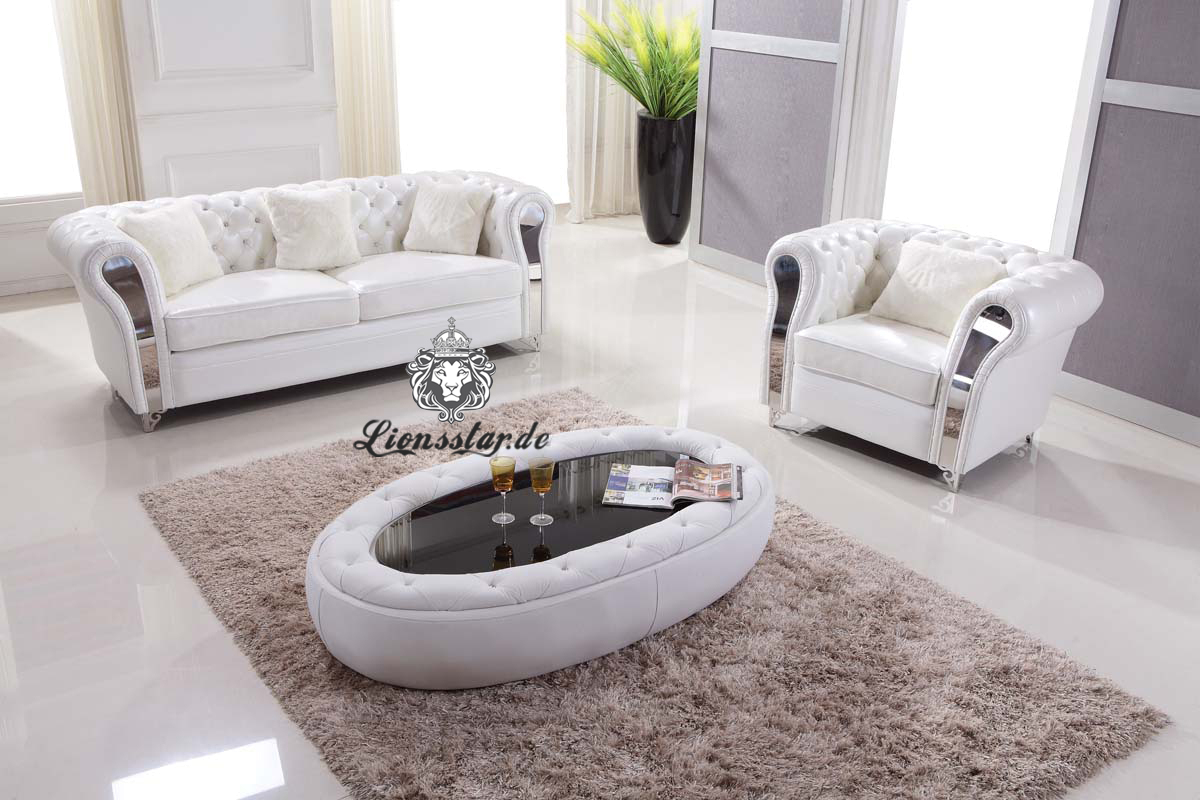 Leder Sofa in Weiß
