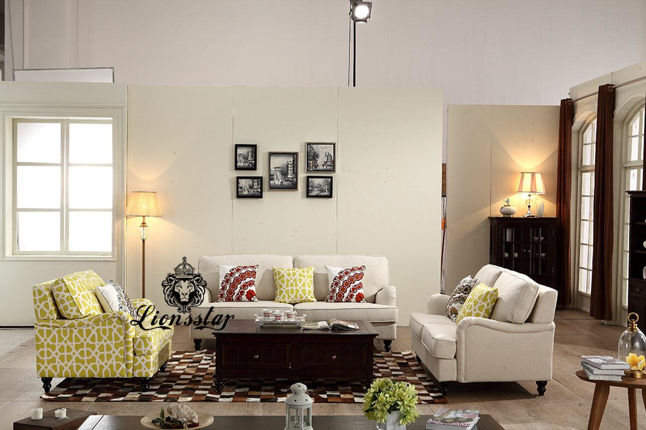 Wohnzimmer Sofaset Beige und Print