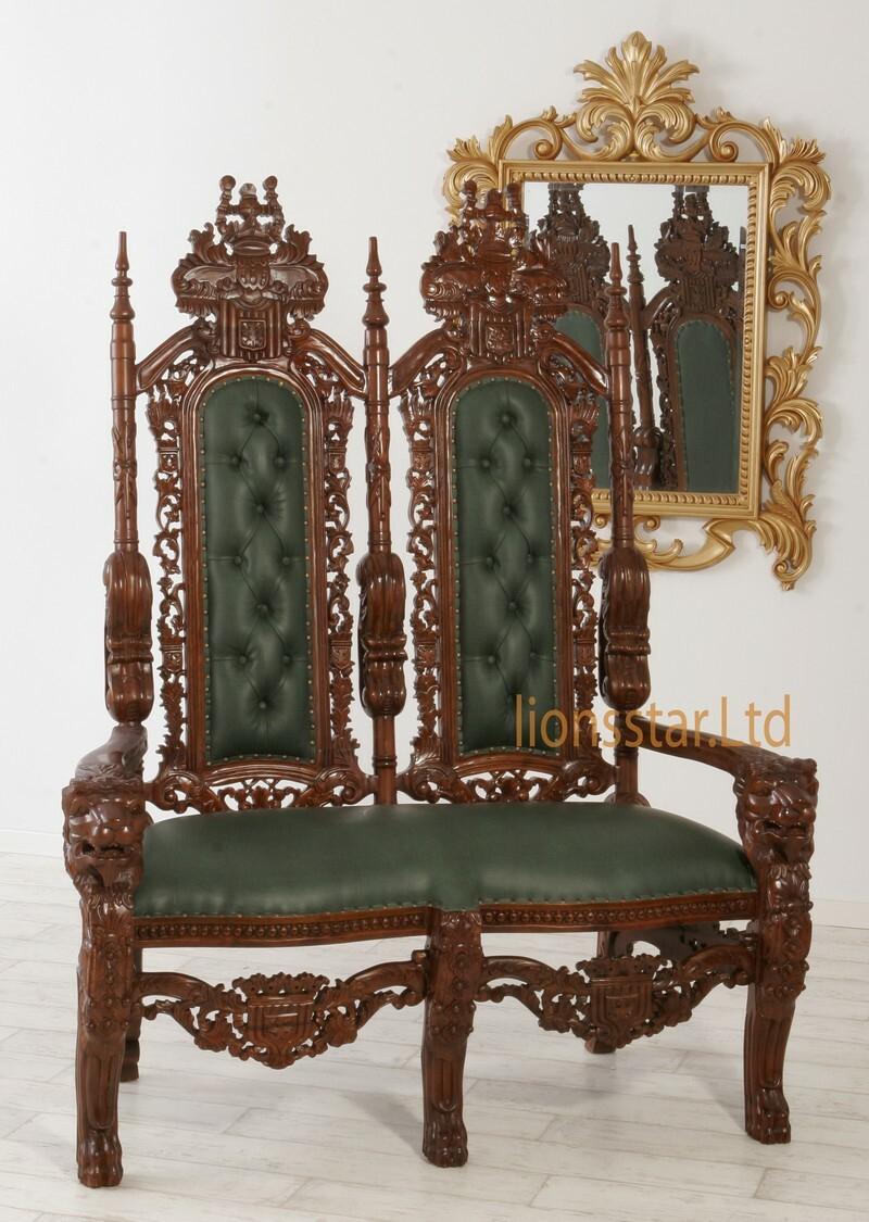 Luxus Thron Set Dunkelgrün