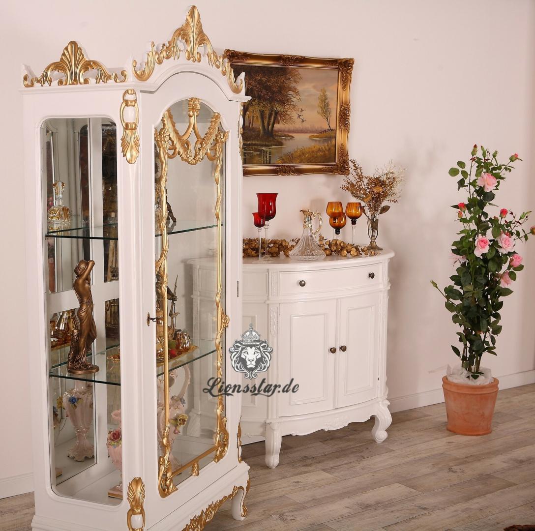 Luxus Vitrine Weiß Gold