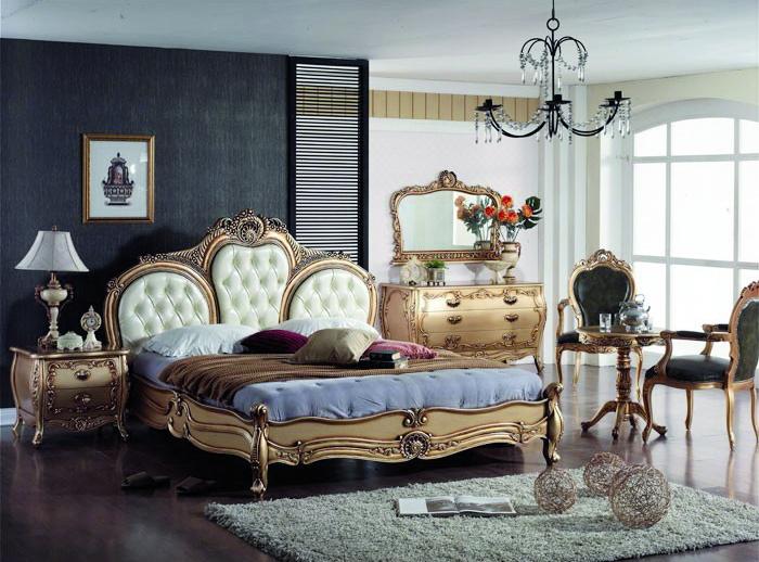 Barock Bett aus Massivholz Mahagoni