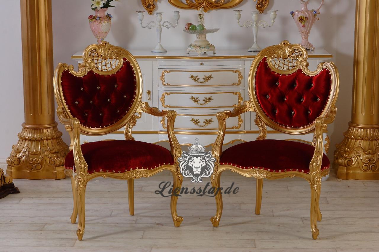 Stuhl Masiv Barock Mahagoni Gold Rot