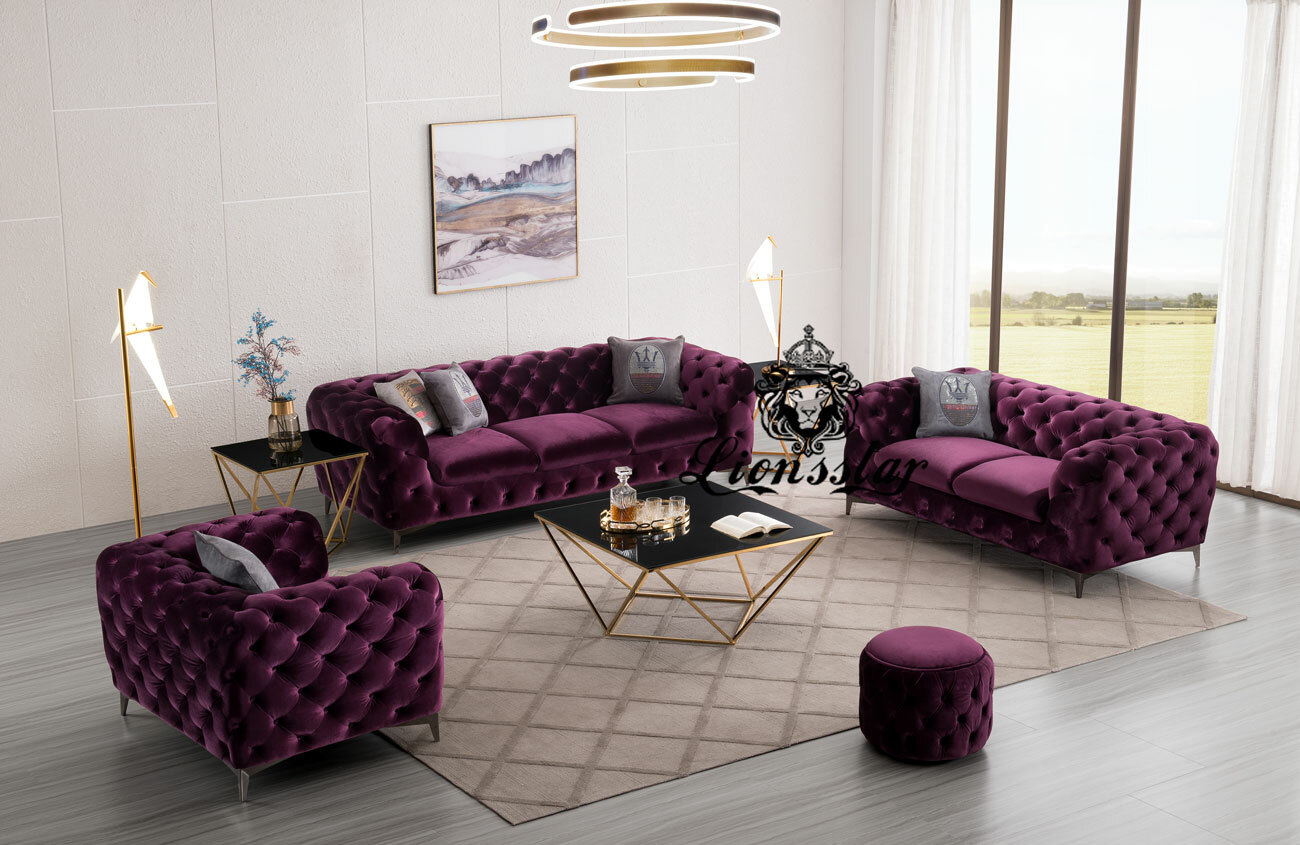 Designer Luxus Sofa Set purpur