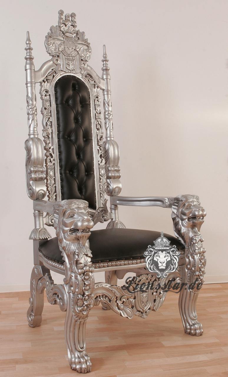 thronstuhl l we silber lionsstar gmbh. Black Bedroom Furniture Sets. Home Design Ideas