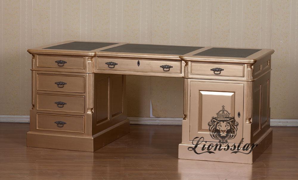 Barock Schreibtisch Gold