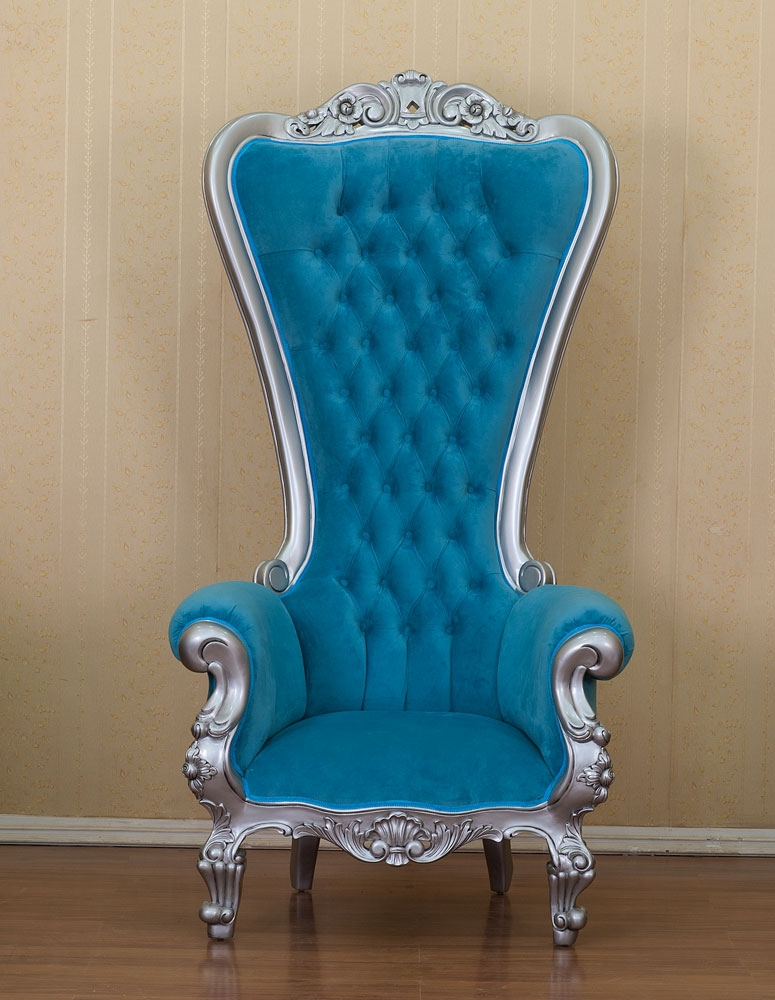 Barock Sessel Silber Blau