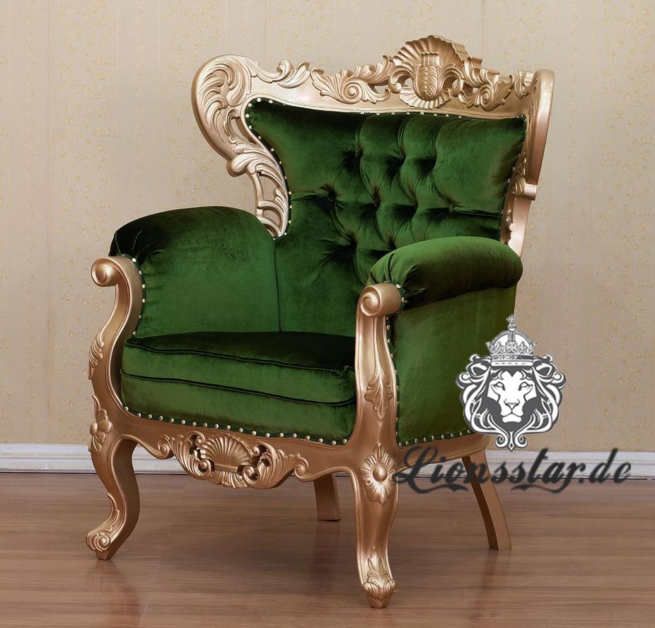 Luxus Sessel Königsstuhl Thronstuhl Kingchair Gold Grün