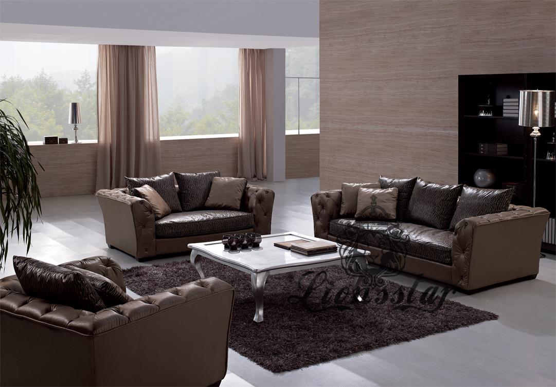 Wohnzimmer Sofaset Braun