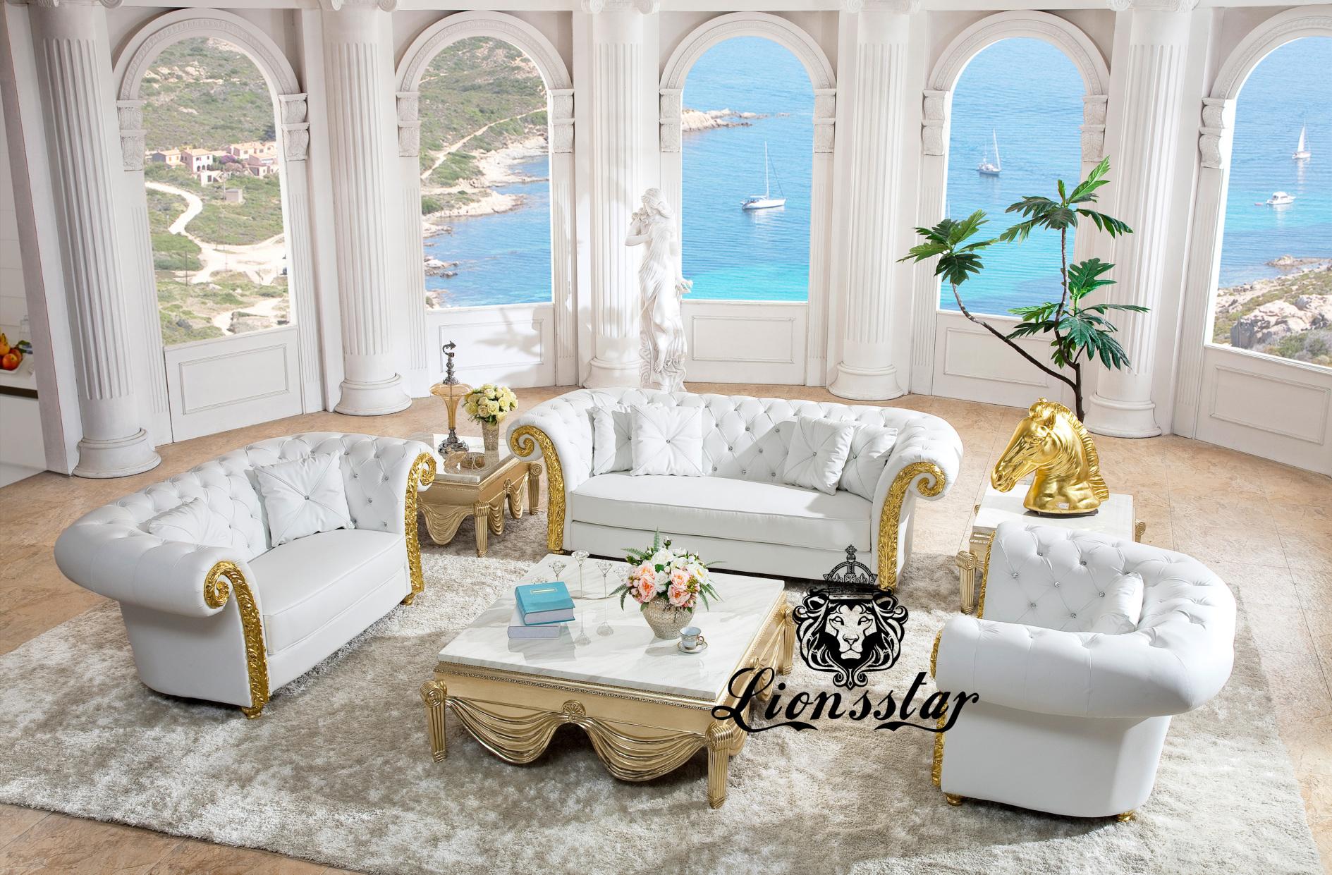 Barock Sofa-Set Sissi Weiß