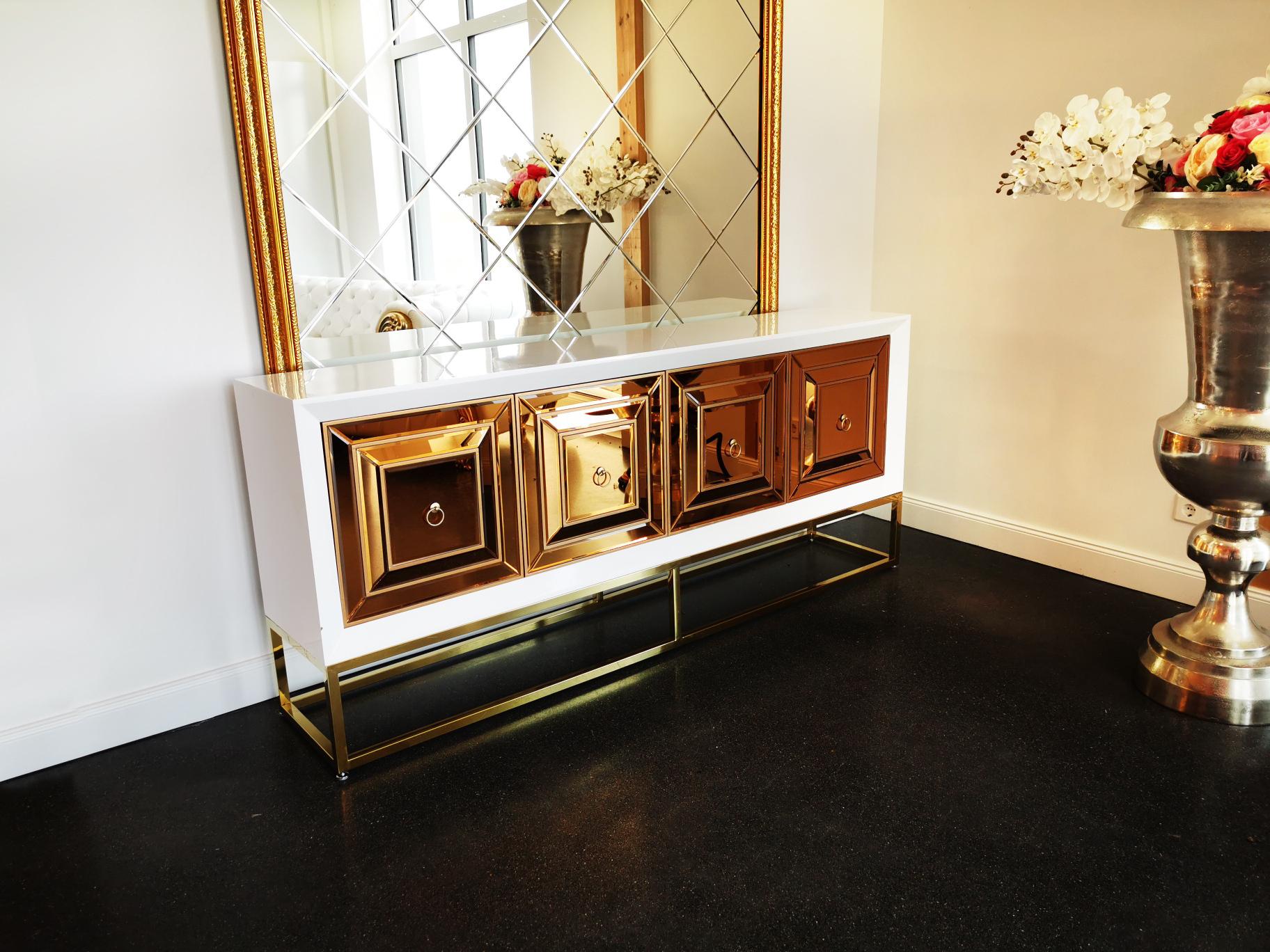 Designer Kommode Queens Bronze Glas