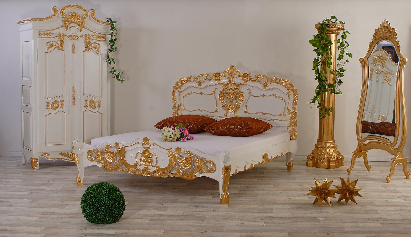 Luxus Rokoko Bett Weiss-Gold