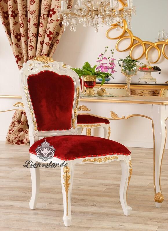 Luxus Stuhl Barock Mahagoni Rot Venezia