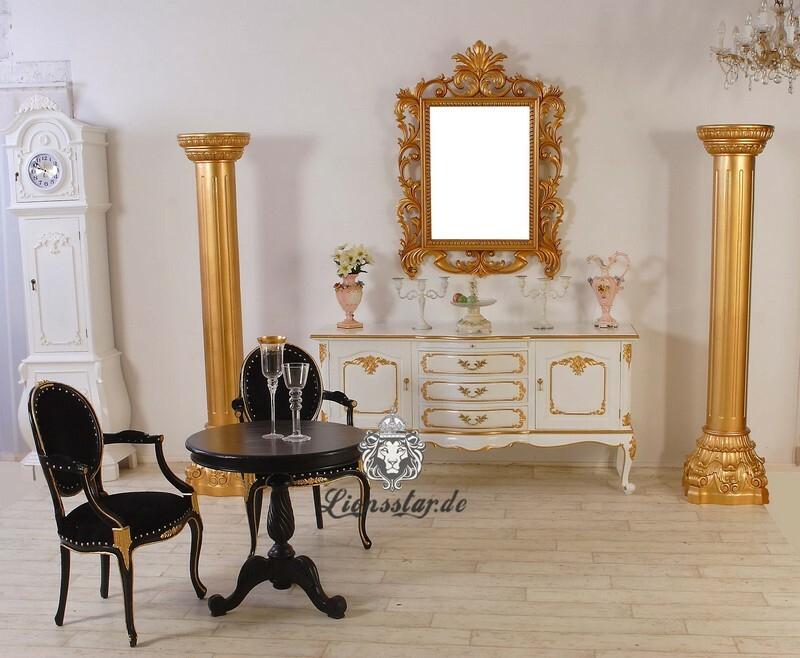 Barock Kommode Weiß Gold