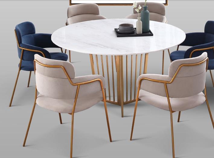 Luxus Designer Esstisch Set Rund Gold