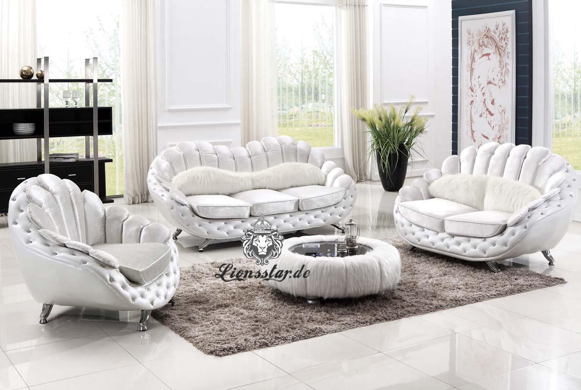 Luxus Couchgarnitur extravagant in weiß