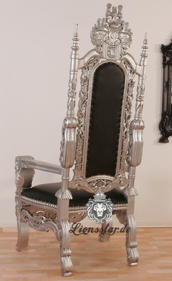 Thronstuhl Löwe Silber