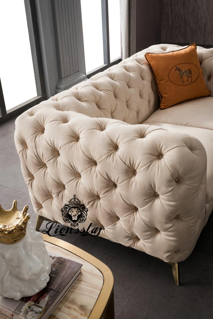 Elegantes Designer Sofaset Creme Weiß