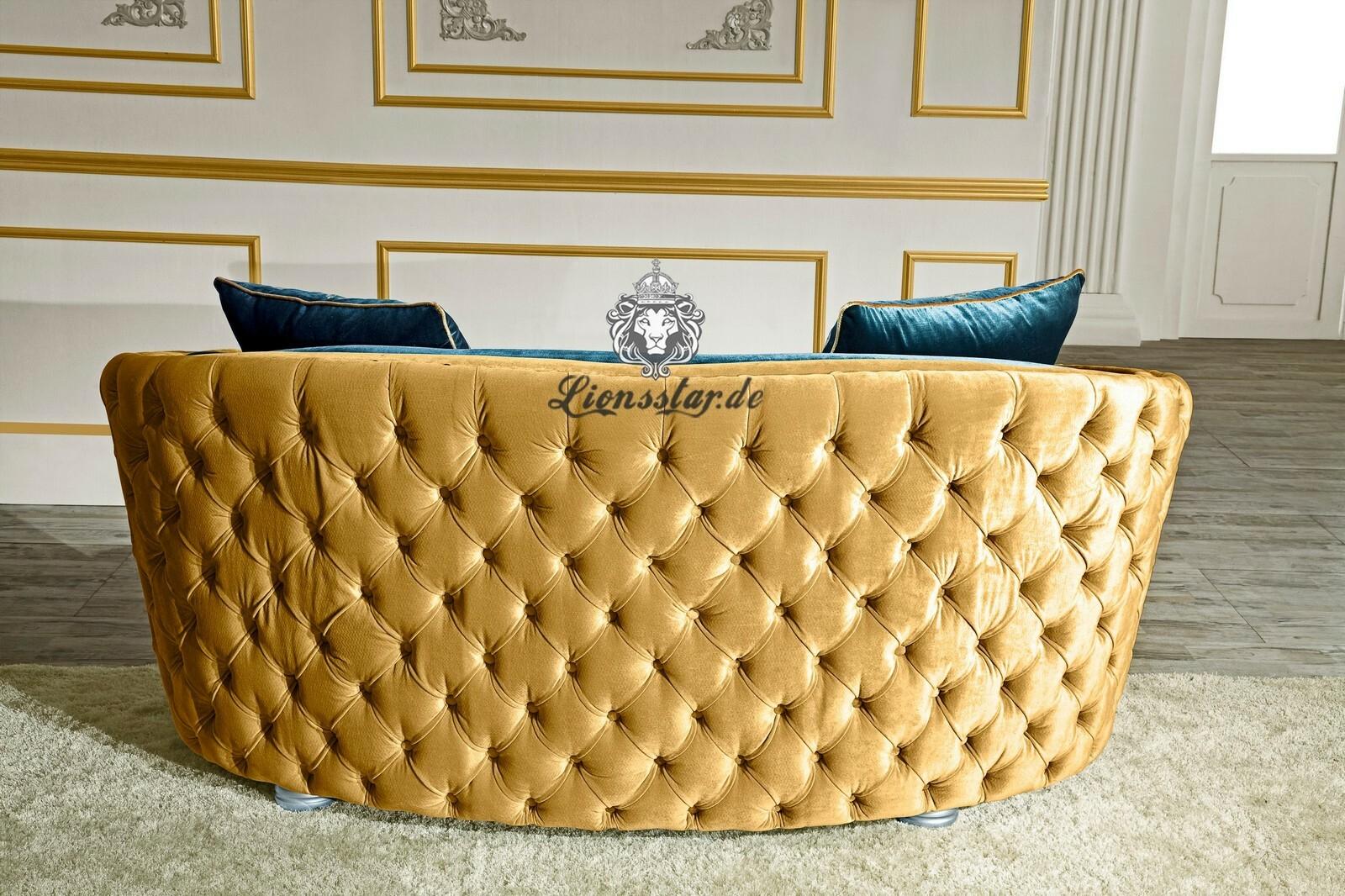 Couchgarnitur Set Gold-Blau
