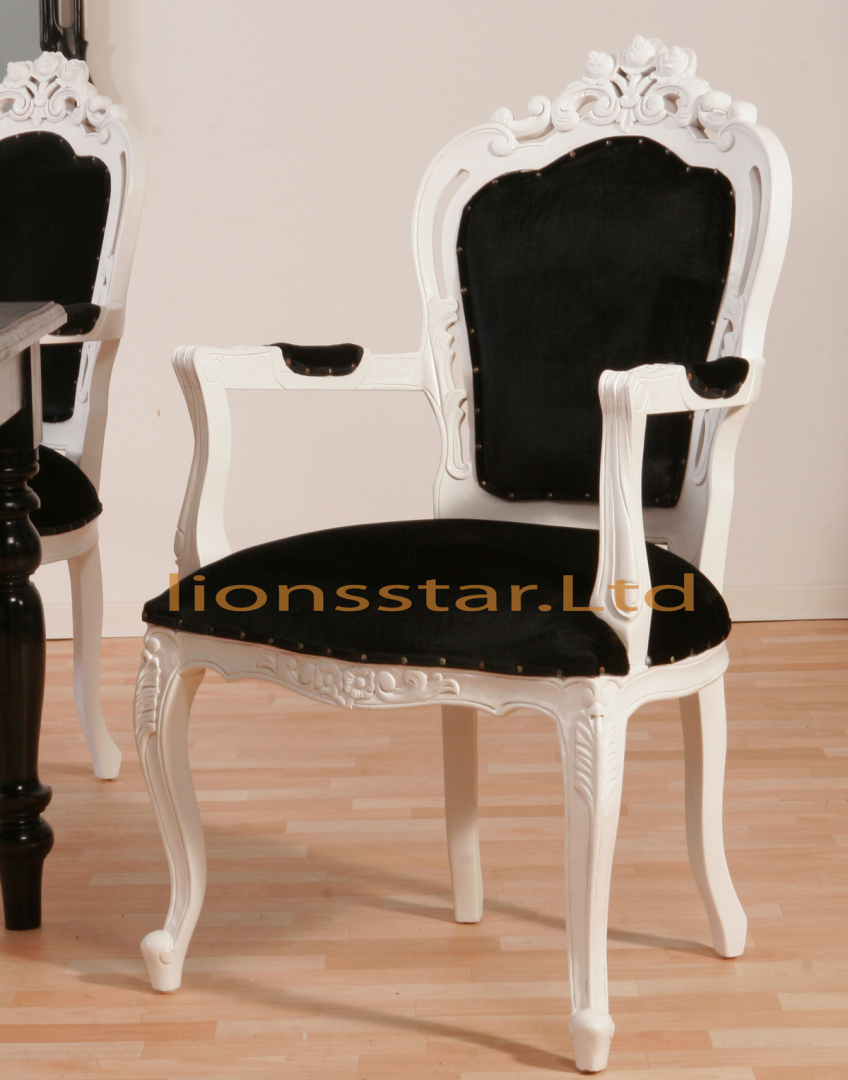 Stuhl Barock Mahagoni Weiß Schwarz