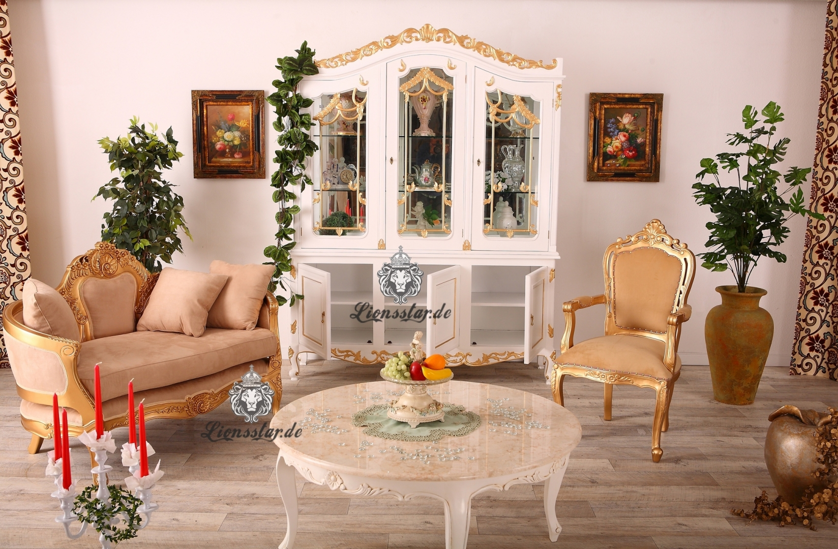 Luxus Sofa Recamiere Rococo Gold