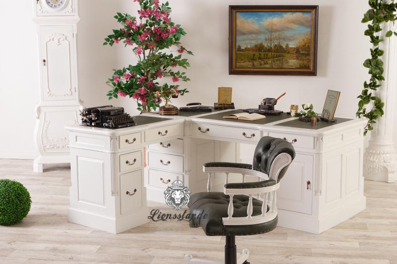 Schreibtisch Barockstil L Form Massivholz