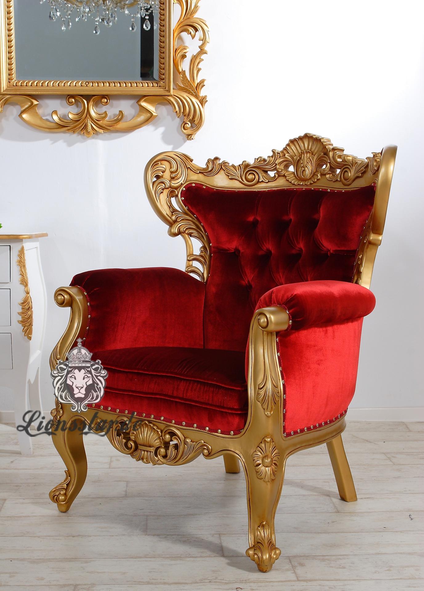 Luxus Sessel Königsstuhl Thronstuhl Kingchair Gold Rot