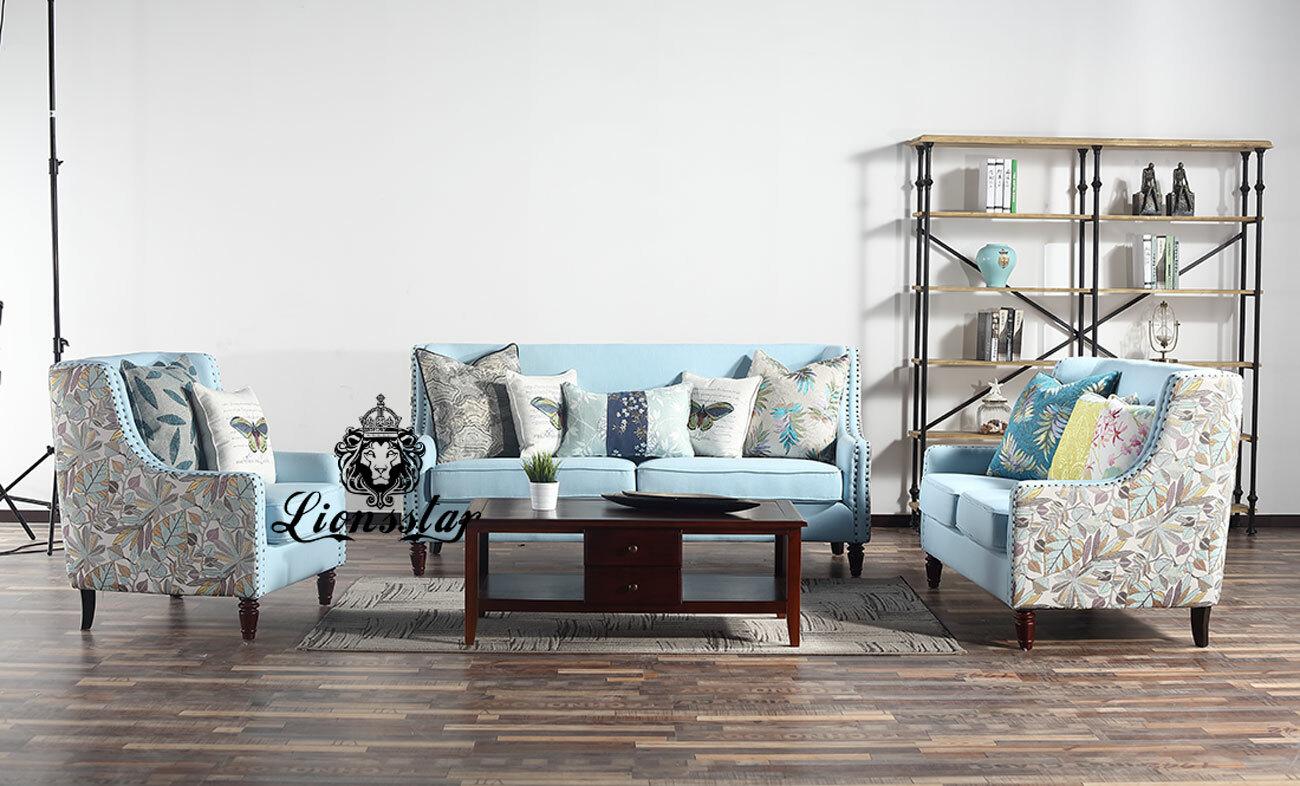 Luxus Design Sofaset Sylt Himmelblau