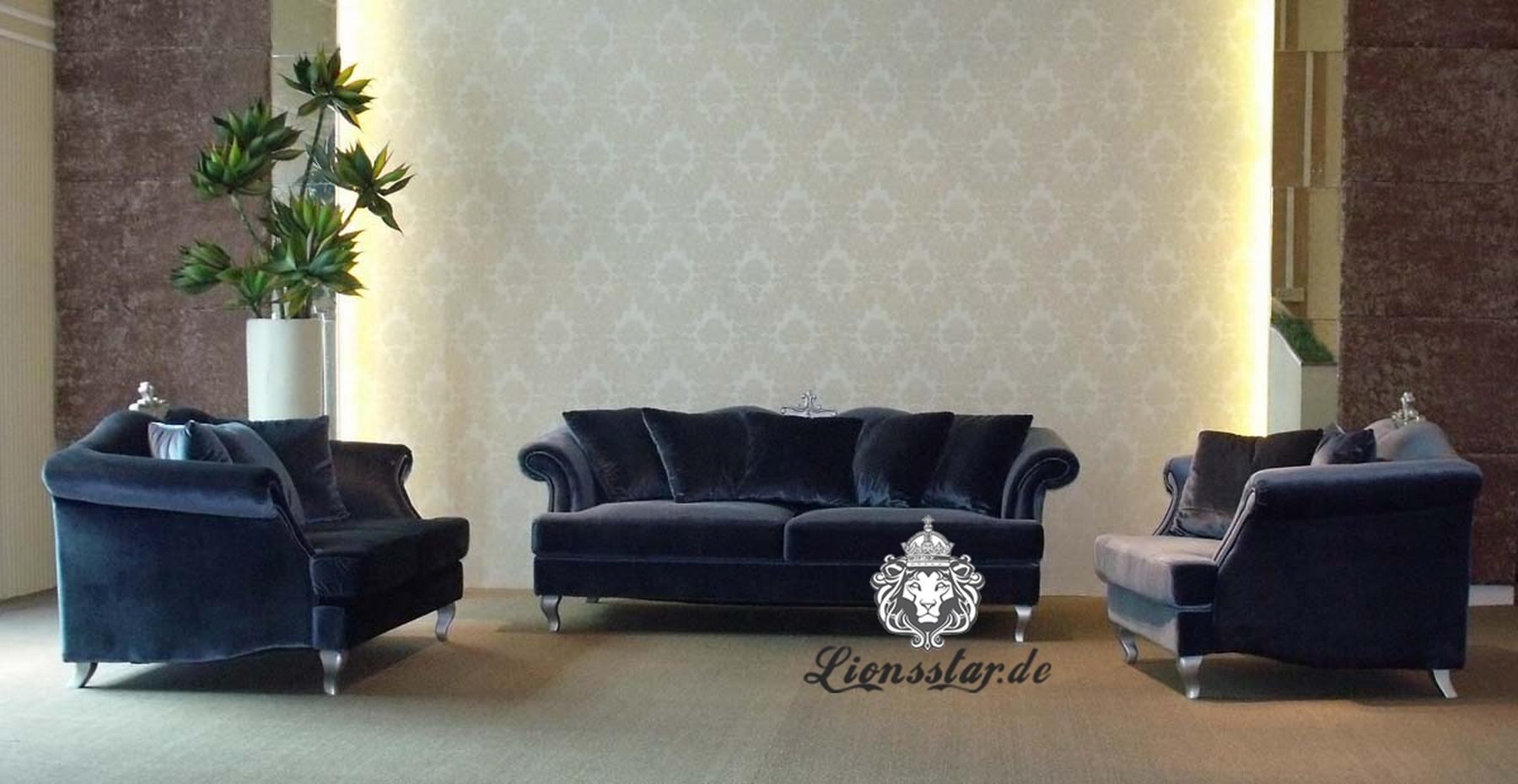 Wohnzimmer Sofaset Blau