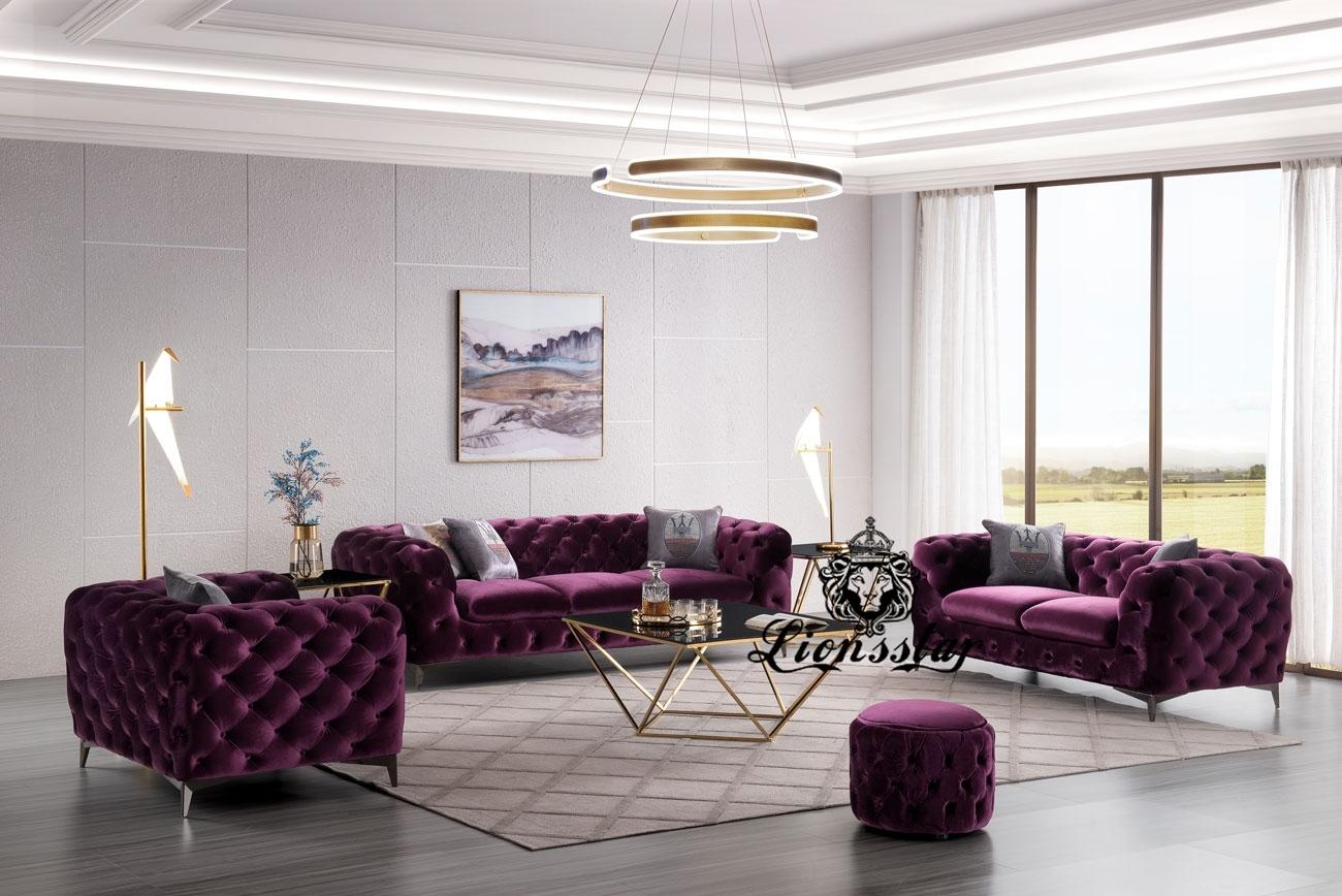 Designer Luxus Sofa Set purpur