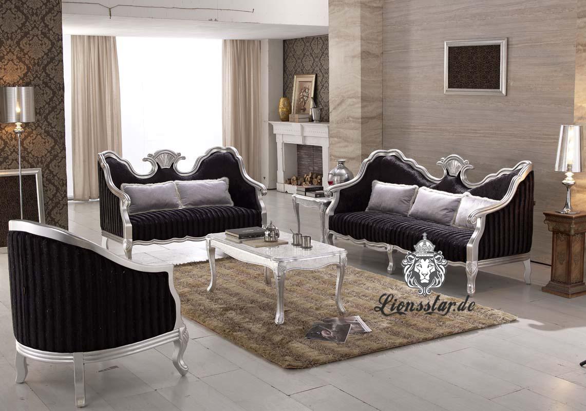 Luxus Sofaset Silber-Schwarz